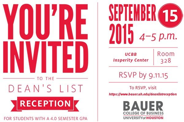 You're Invited to the Dean's List Reception, September 15
