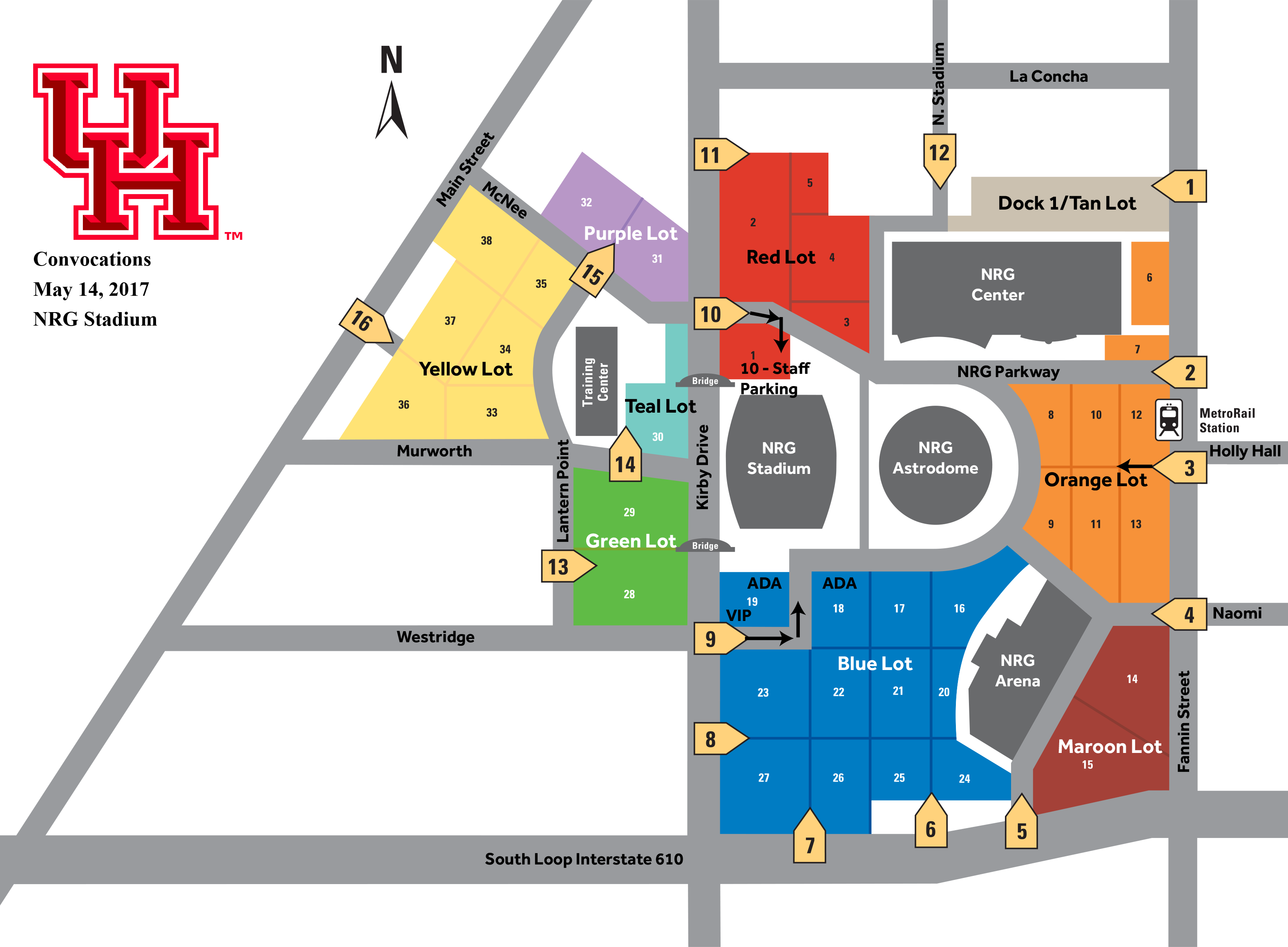 NRG Stadium Convocation Parking Map